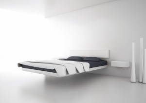 furniture-futuristic-white-float-bed-and-table-with-exotic-gray-pillow-and-bed-covers-comfortable-bachelor-pad-bedroom-furniture-design